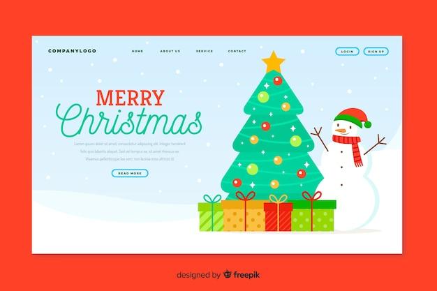 Рождественская целевая страница в плоском дизайне Бесплатные векторы
