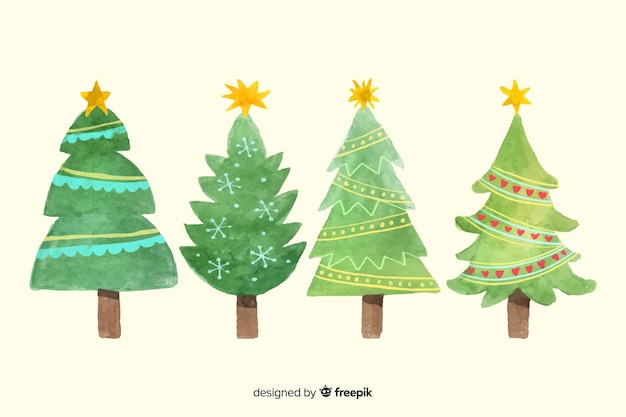 水彩クリスマスツリーコレクション 無料ベクター