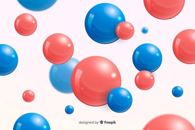背景の現実的な流れる光沢のある球 無料ベクター