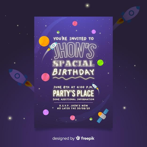 空間的な誕生日のポスターテンプレートに招待されています 無料ベクター