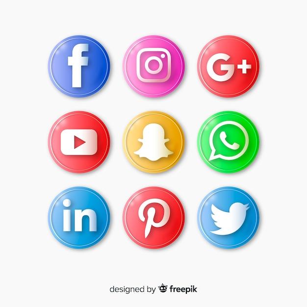 ソーシャルメディアのロゴセットと現実的なボタン 無料ベクター