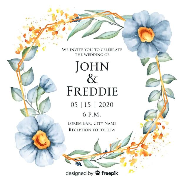 エレガントな花のフレームの結婚式の招待状 無料ベクター