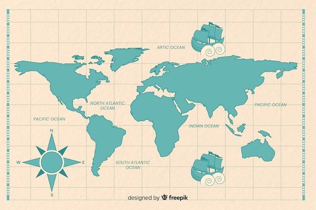 青のヴィンテージの世界地図 無料ベクター