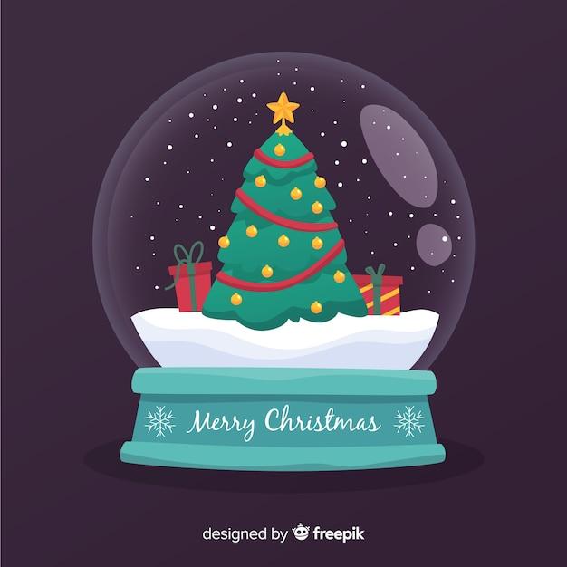 スノーボールグローブでフラットなクリスマスツリー 無料ベクター