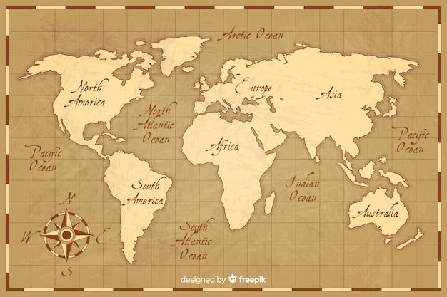ビンテージスタイルの世界地図 無料ベクター