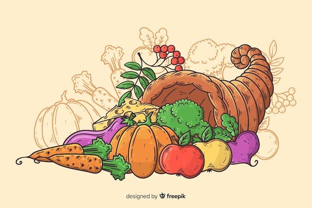 手描きの感謝祭の背景に収穫 無料ベクター