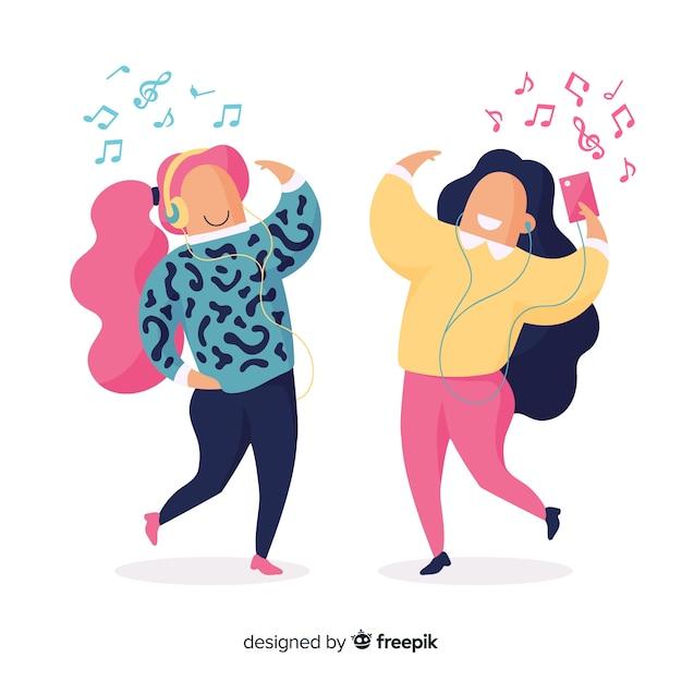 Художественная иллюстрация с людьми, слушающими музыку Бесплатные векторы