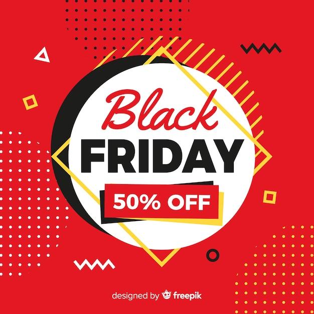 赤いメンフィスの背景の丸い黒い金曜日のフラットなデザイン 無料ベクター