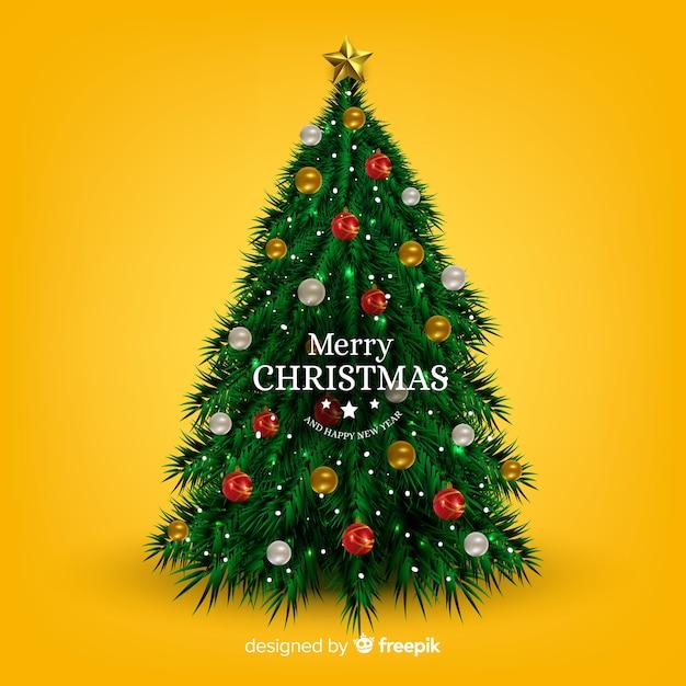 Реалистичная рождественская елка Бесплатные векторы
