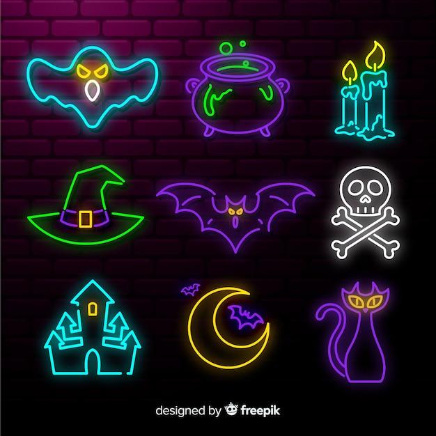 Хэллоуин неоновый знак коллекции элементов Бесплатные векторы