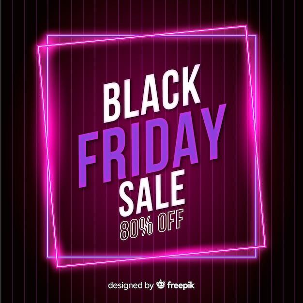 Неоновая черная пятница супер распродажа баннер Бесплатные векторы