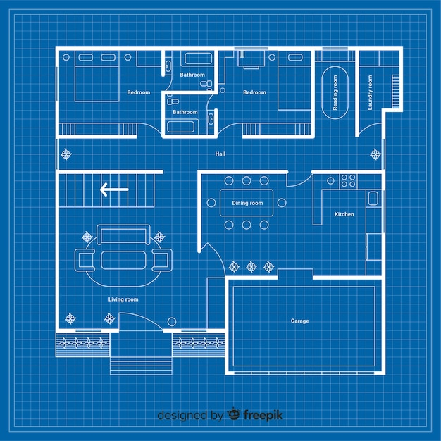 詳細のある家の設計図 無料ベクター