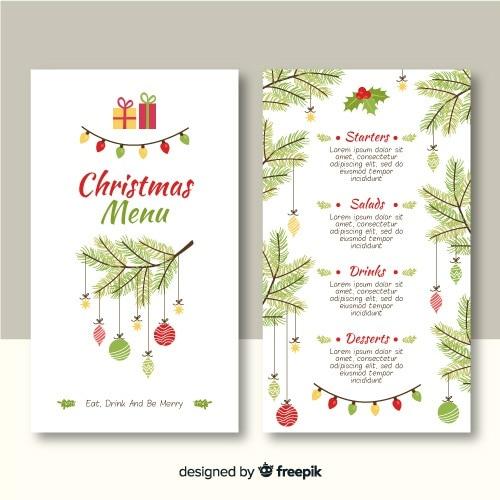 Шаблон меню рождество в плоском дизайне Бесплатные векторы