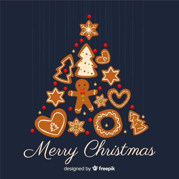 フラットなデザインのクリスマスデコレーション 無料ベクター