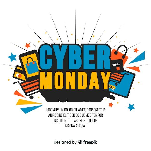 Плоский дизайн кибер понедельник обои Бесплатные векторы