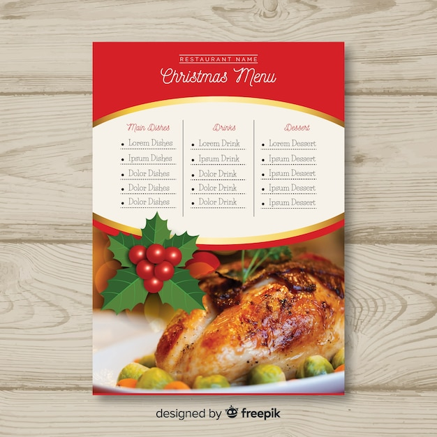 Шаблон меню рождество с фото Бесплатные векторы