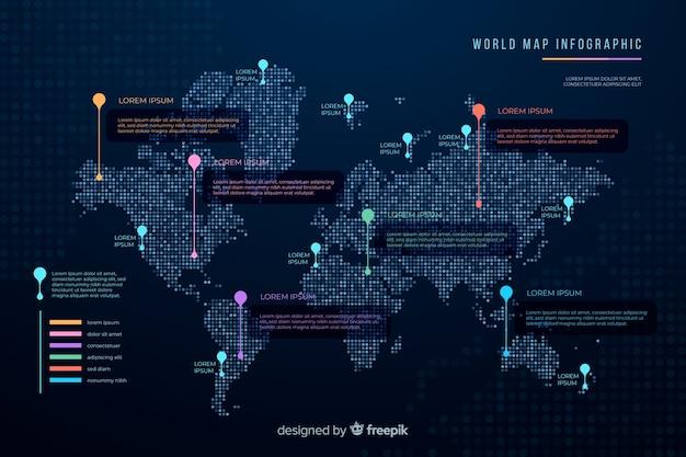 暗いテーマ世界地図インフォグラフィック 無料ベクター