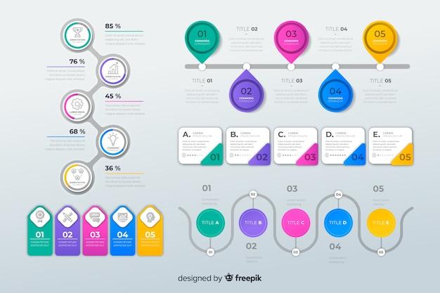 フラットなデザインのインフォグラフィック要素のパック 無料ベクター
