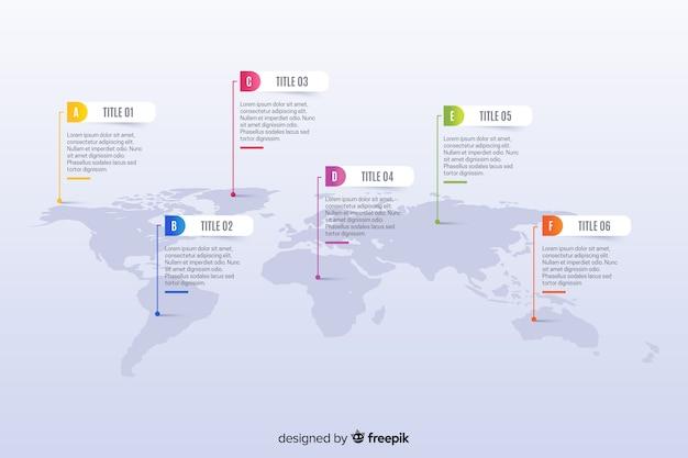 カラフルなマーカーで世界地図ビジネスインフォグラフィック 無料ベクター
