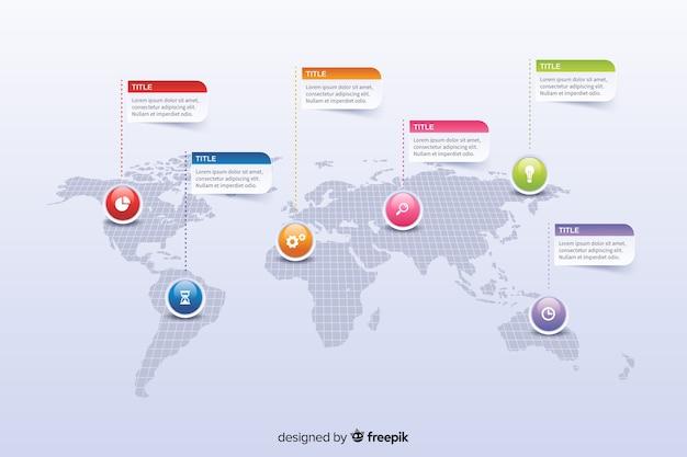 Карта мира с красочными маркерами инфографики Бесплатные векторы