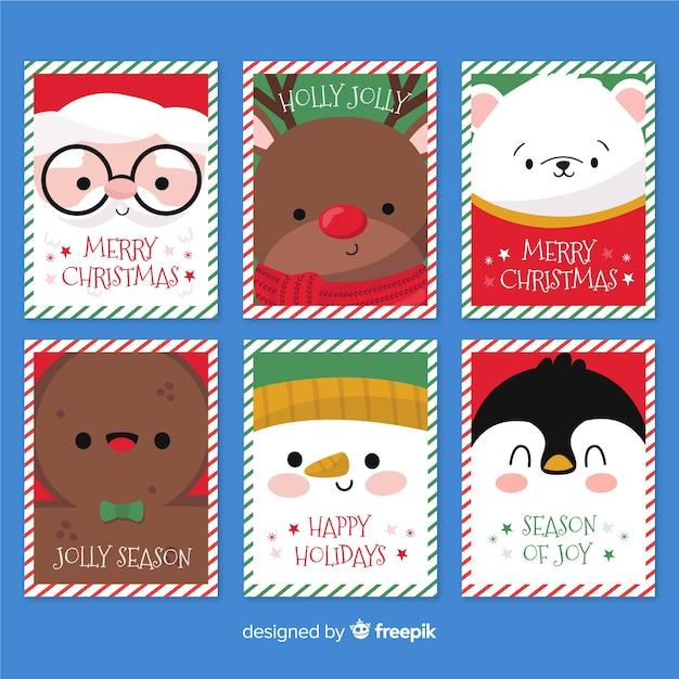手描きクリスマスラベルコレクション 無料ベクター