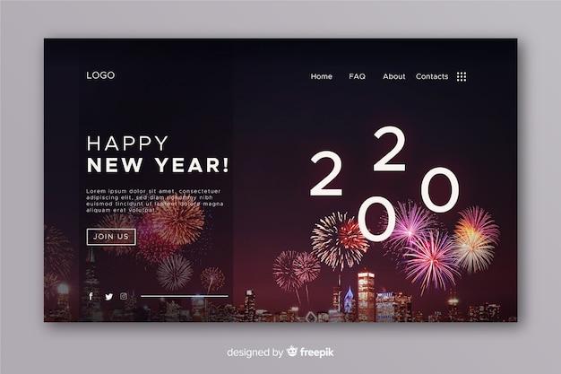 現実的な新年のランディングページと花火 無料ベクター