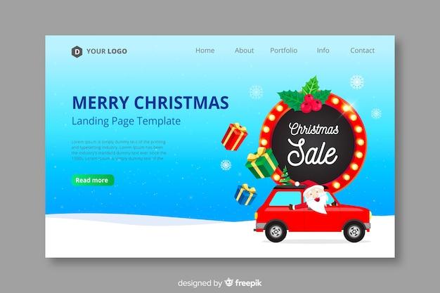 フラットデザインのクリスマスランディングページ 無料ベクター