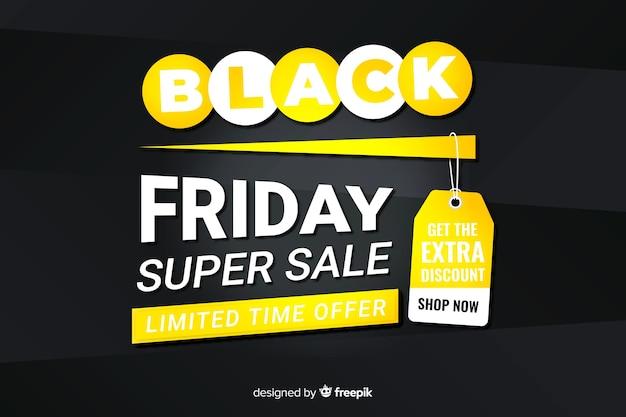 Плоский дизайн черная пятница супер распродажа баннер Бесплатные векторы