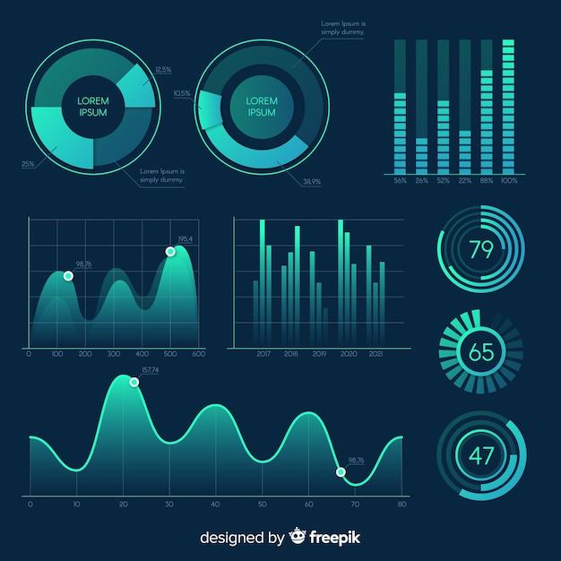 グラデーションインフォグラフィック要素のパック 無料ベクター