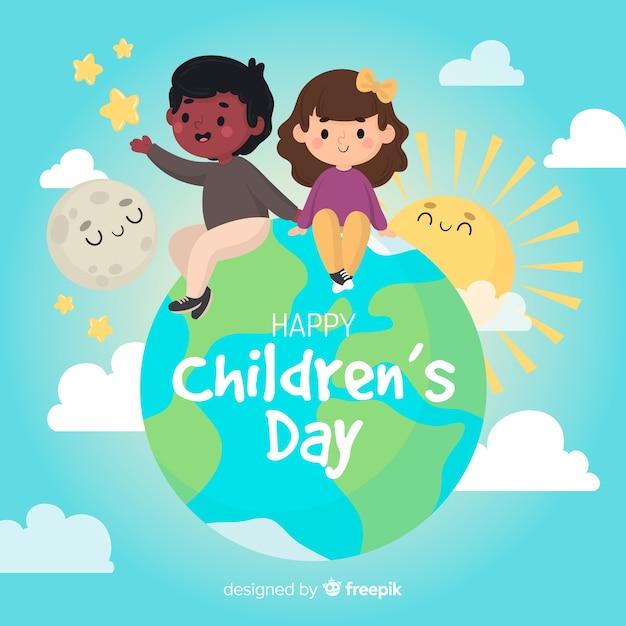 Детский день фон рисованной стиль Бесплатные векторы