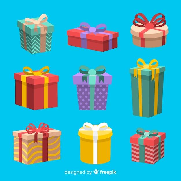 Плоская коллекция рождественских подарков Бесплатные векторы