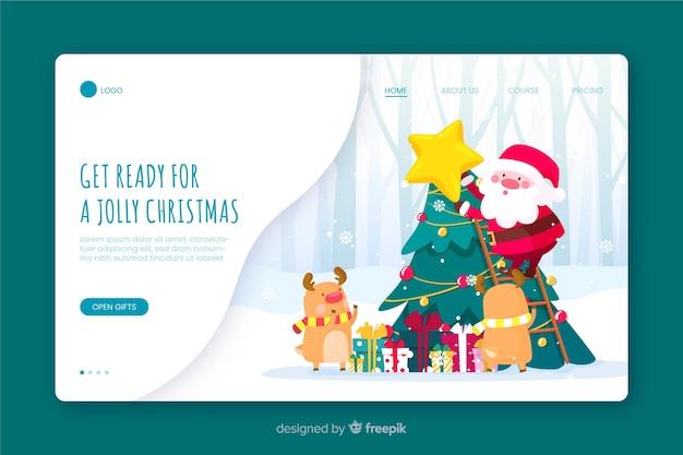 Дед мороз и посадочная страница оленей Бесплатные векторы