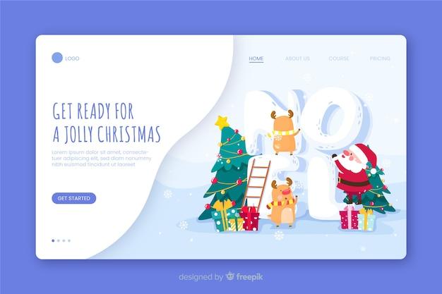 Будьте готовы к веселой рождественской целевой странице Бесплатные векторы