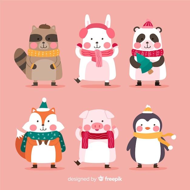 Плоская рождественская коллекция символов животных Бесплатные векторы