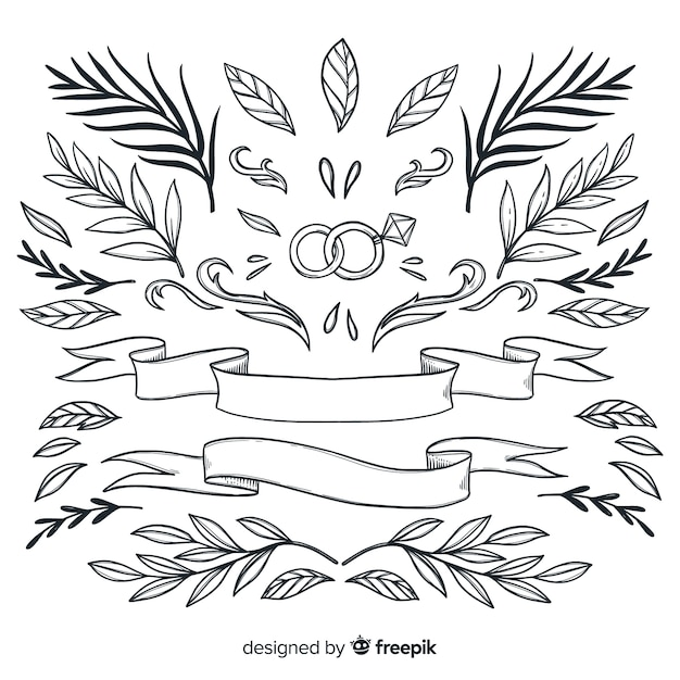 美しい飾りコレクション手描きの葉 無料ベクター