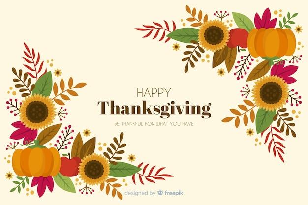 Ручной обращается фон благодарения цветочная рамка Бесплатные векторы