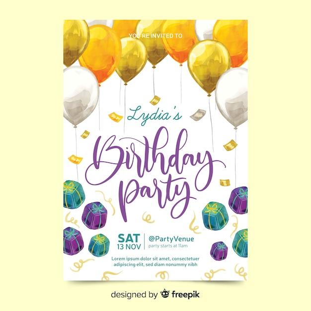 Красивая вечеринка по случаю дня рождения с подарками Бесплатные векторы