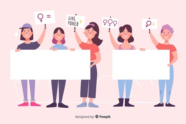 Пакет иллюстрированных людей, имеющих пустые баннеры Бесплатные векторы
