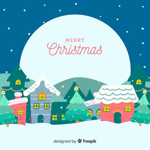 Ручной обращается рождественский городок в ночь полнолуния Бесплатные векторы