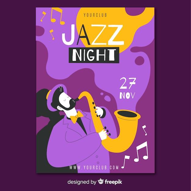 抽象的な手描きのジャズ音楽ポスターテンプレート 無料ベクター
