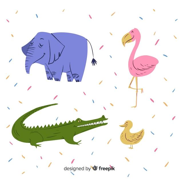 子供スタイルの動物コレクション 無料ベクター