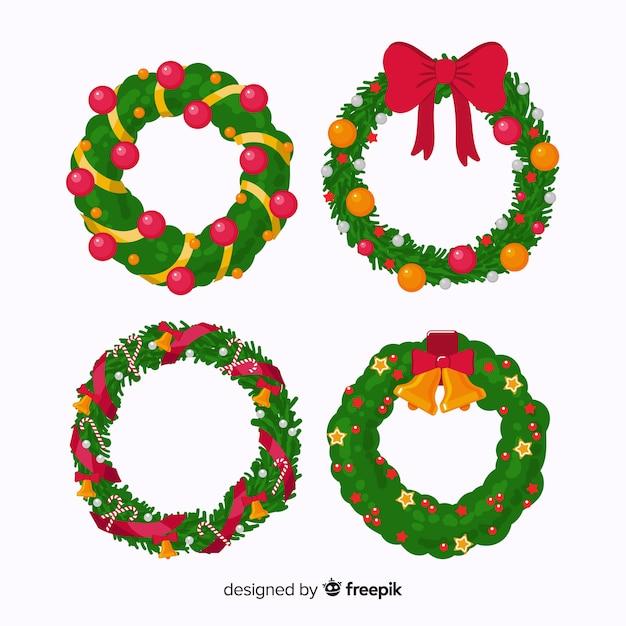 Набор рождественский венок в плоском дизайне Бесплатные векторы