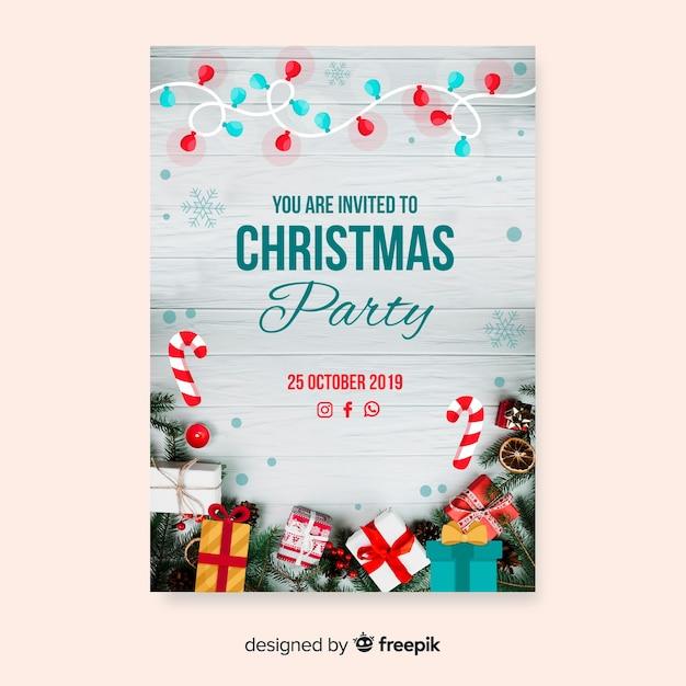 Рождественская вечеринка флаер с фото Бесплатные векторы