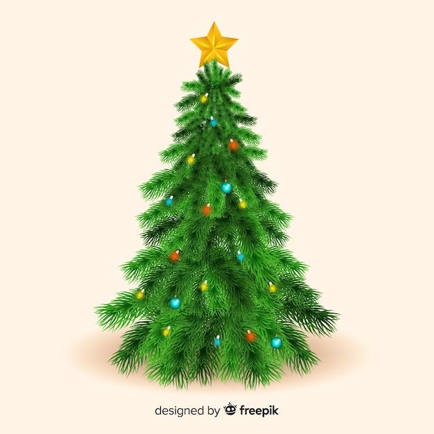 上の星と現実的なクリスマスツリー 無料ベクター