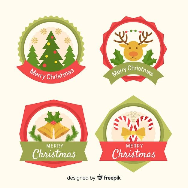 Плоская рождественская коллекция этикеток Бесплатные векторы