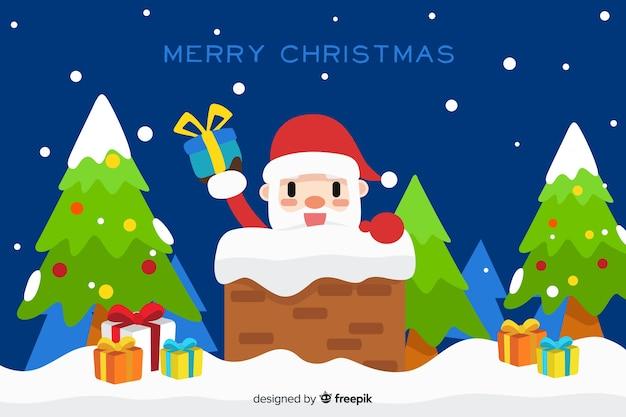 Санта-клаус, входящий в рог плоский дизайн фона Бесплатные векторы