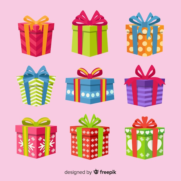 Плоский дизайн коллекции рождественских подарков Бесплатные векторы