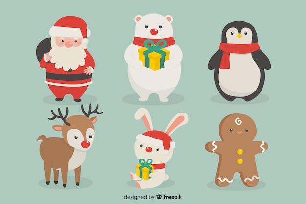 Коллекция рисованной рождественские персонажи Бесплатные векторы