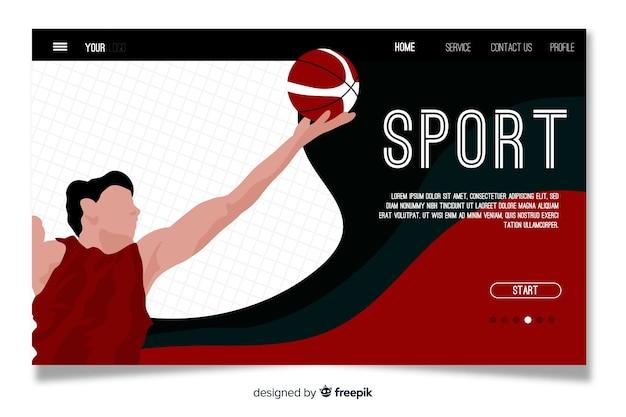 Шаблон спортивной целевой страницы Бесплатные векторы
