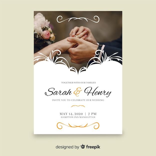 写真とレトロな装飾結婚式招待状テンプレート 無料ベクター